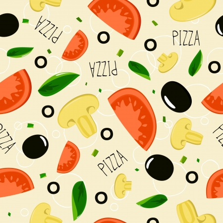 pizza ingredients: Pizza pattern on beige background