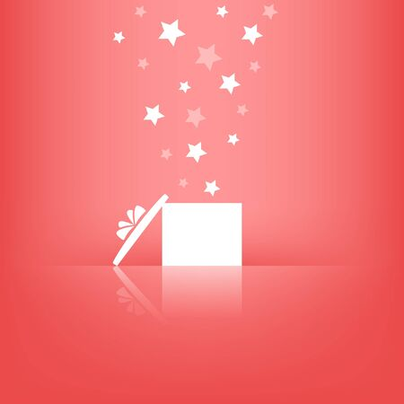 White gift box with stars on pink background   Illustration
