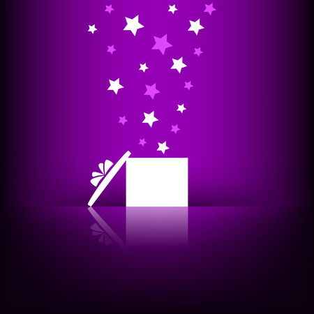 White gift box with stars on violet background