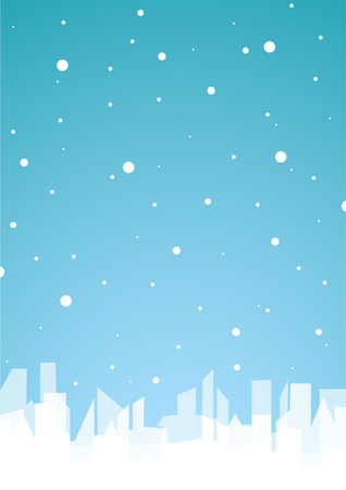 Blue background with white city and snow   Illustration
