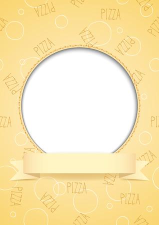illustration of food: C�rculo blanco con el lugar para el texto o la imagen en el fondo de color beige de pizza