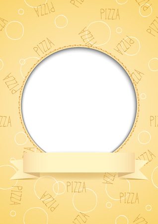 White circle with place for text or image on beige pizza background