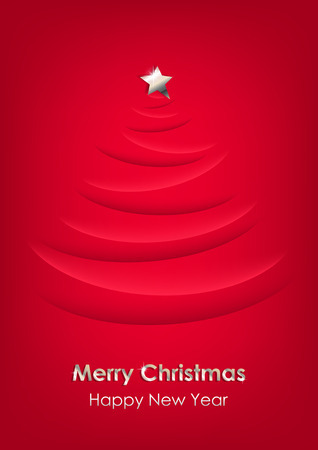 Christmas tree with silver star on red vertical background