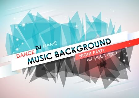 Horizontal light music background with stars and place for text    Vector