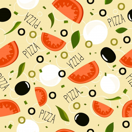 Pizza pattern with mozzarella on beige background