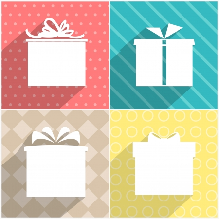 Set of four colourful icons of gift boxes with colourful backgrounds