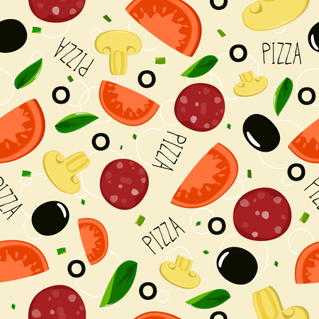 pizza crust: Pizza pattern with sausage on beige background