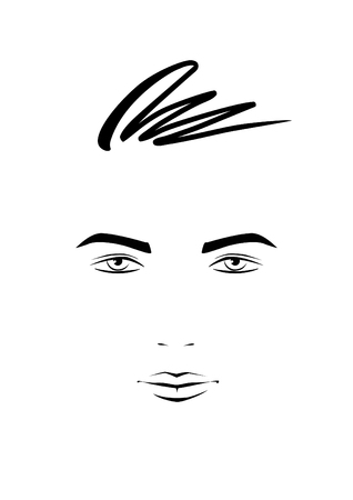 lines: Portrait of young man   Illustration