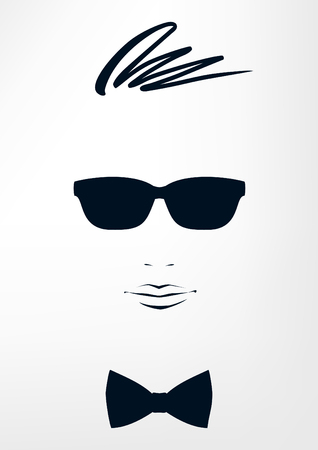 trendy male: Portrait of young man in black sunglasses and bow   Illustration