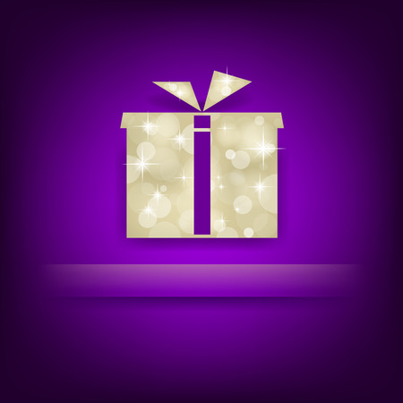 Violet background with gift box