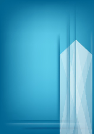Abstract vertical white arrow on blue background