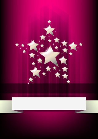 Vertical music background with silver stars   Vector