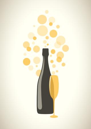 botella champagne: Botella y copa de champán con burbujas transparentes sobre fondo gris