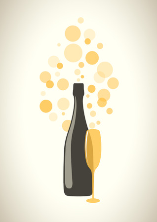 Bottle and glass of champagne with transparent bubbles on grey background