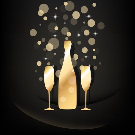 botella champagne: Botella de oro y dos copas de champ�n con burbujas transparentes sobre fondo negro