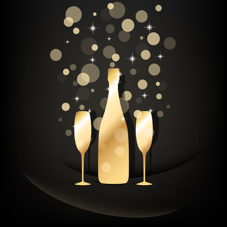 botella champagne: Botella de oro y dos copas de champán con burbujas transparentes sobre fondo negro
