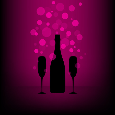 Bottle and two glasses of champagne with transparent bubbles on black and pink background