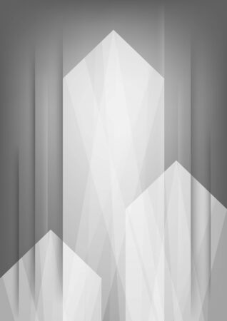 Three abstract white arrows on grey vertical background