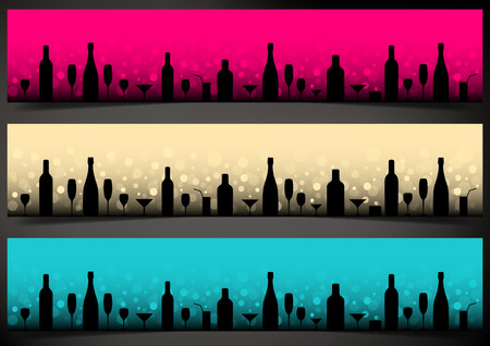 Three festive banners with alcoholic drinks on dark background