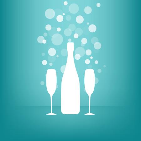 白のボトルと青色の背景色に透明な泡とシャンパンを 2 杯  イラスト・ベクター素材