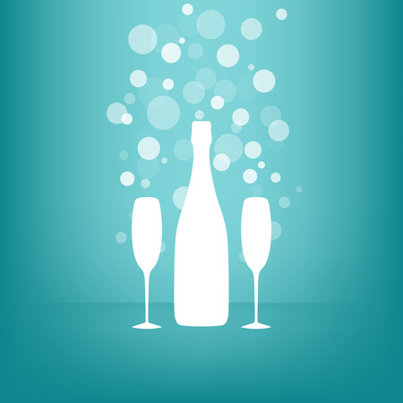 aperitif: White Bottle and two glasses of champagne with transparent bubbles on blue background   Illustration