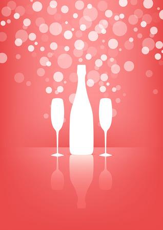 botella champagne: Botella blanca y dos copas de champán con burbujas transparentes sobre fondo de color rosa