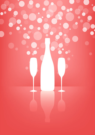 White Bottle and two glasses of champagne with transparent bubbles on pink background   Vector