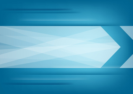 Abstract white arrow on blue horizontal background   Ilustração