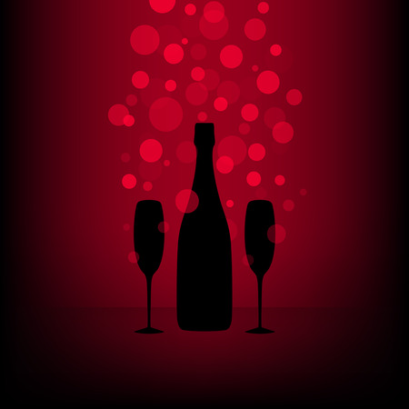 Bottle and two glasses of champagne with transparent bubbles on black and red background