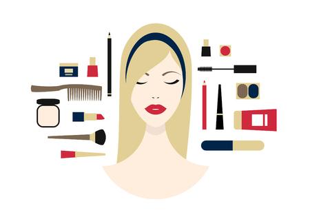 Visage de belle femme avec des yeux fermés et cosmétiques sur fond horizontal blanc. Banque d'images - 80040558