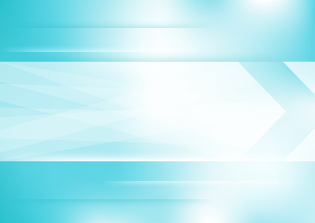Abstract white arrow on blue and white horizontal background. Illustration