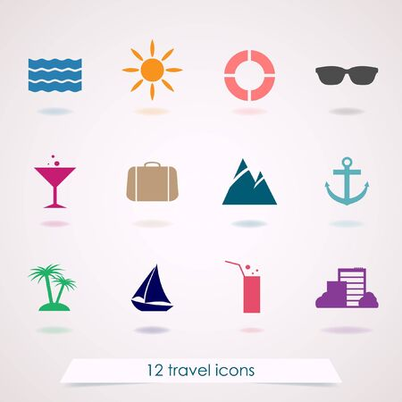 stripping: Set of twelve colorful travel icons on gray background.