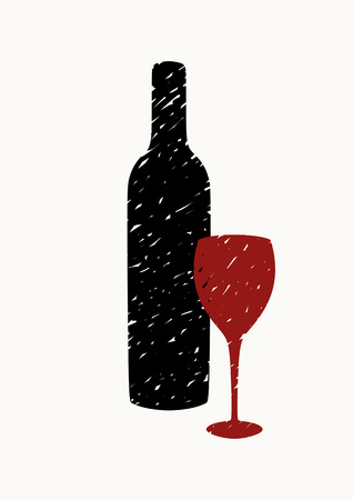 Bottle of wine and glass on light vertical background. Illustration