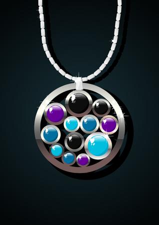 Elegant jewelry with color gemstones on dark background. Illustration
