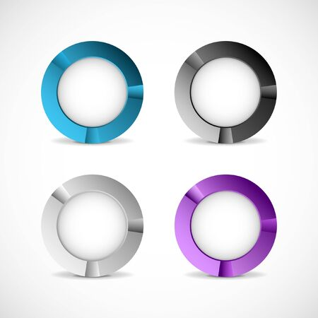 Set of four colorful buttons on light gray background.