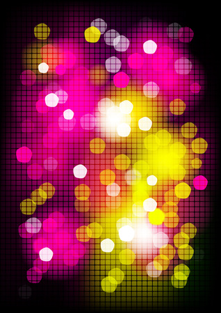 Vertical mosaic party background with graphic elements.