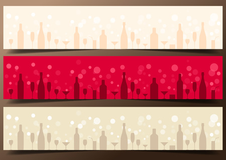 Three festive banners with alcoholic drinks on dark brown background