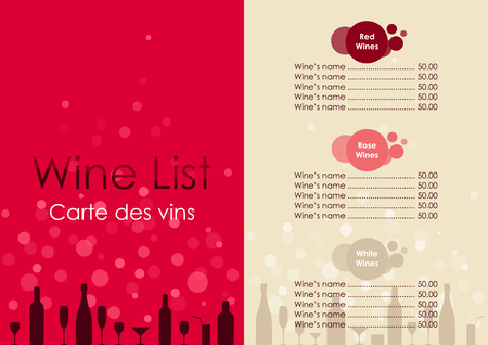 Wine list with transparent bubble on red and beige background.