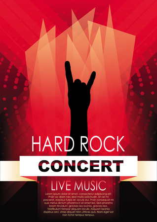 Vertical music background with red abstract elements and hand of rocker.
