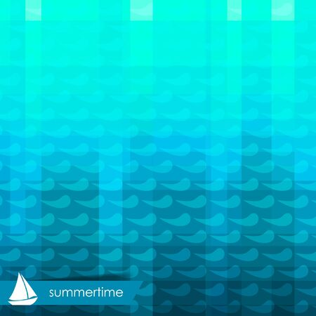 Blue mosaic background with waves and white sailing boat.