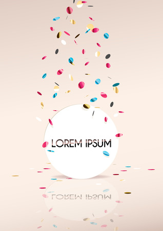 Pink vertical background with flying confetti. Illustration
