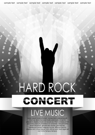 Vertical black and white music background with abstract elements and hand of rocker.