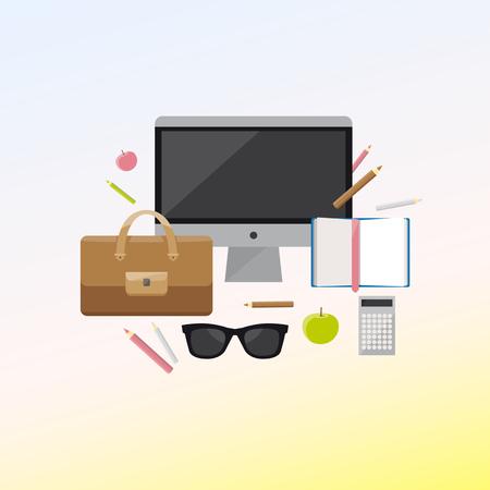 Flat design vector illustration concept of creative office workspace on light