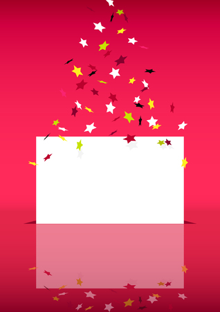 Red vertical with flying confetti and place for text.
