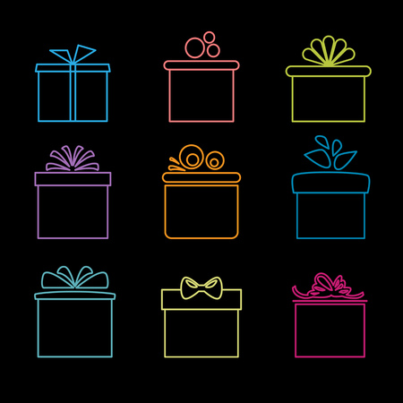 Set of nine icons of gift boxes.
