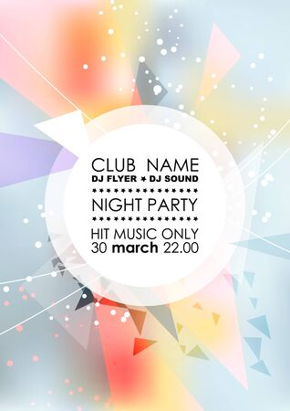 Vertical light blue music party with colorful graphic elements and place for text.