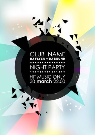 Vertical light music party with colorful graphic elements and place for text. Illustration