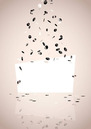 Light vertical background with flying confetti. Illustration