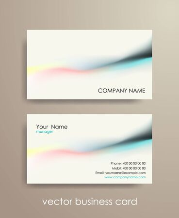 Set of light horizontal abstract business cards on gray background.