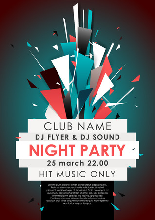 Vertical blue music party background with colorful graphic elements and place for text.